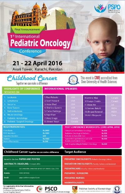 Final Announcement 1st International Pediatric Oncology Conference 21-22 April 2016