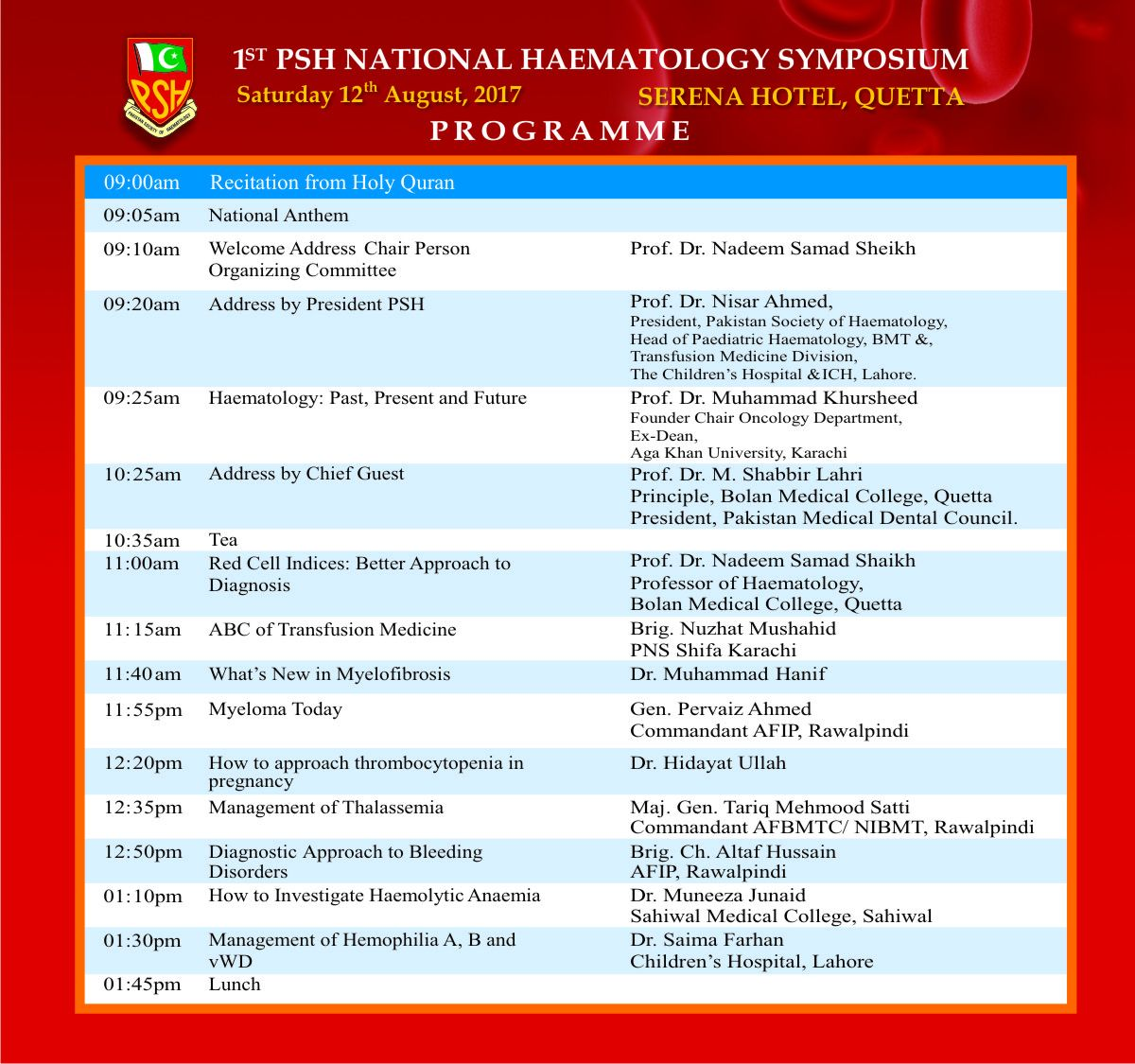 1st PSH National Haematology Symposium, Quetta