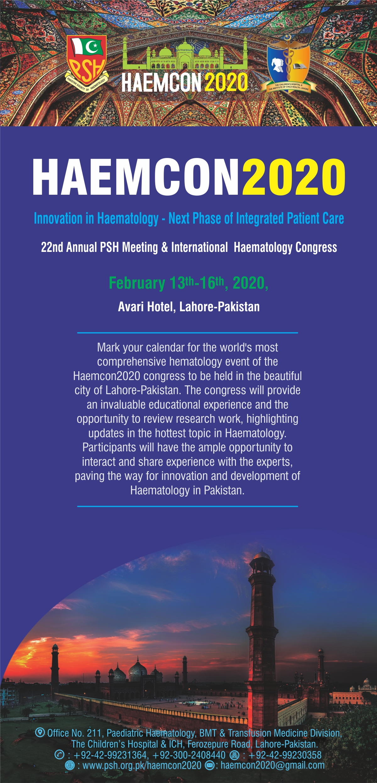 Innovation in Haematology - Next Phase of Integrated Patient Care | 22nd Annual PSH Meeting & International Haematology Congress | February 13 - 16, 2020 | Avari Hotel, Lahore - Pakistan